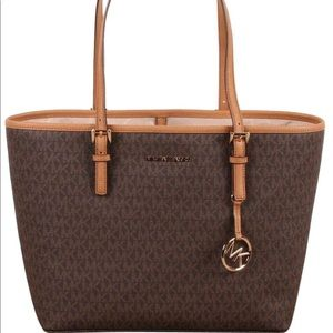 Michael Kors jet set travel medium brown tote